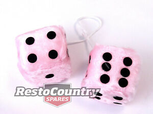 Novelty Fluffy Dice Pair PINK QUALITY - Mirror Car Truck 4wd fuzzy accessory