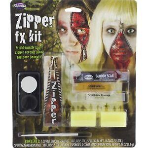 Zipper Face FX Makeup Kit for Adult Halloween Costume Bloody Horror