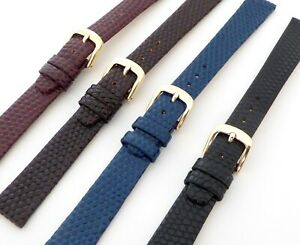 Traditional Lizard Grain Premium Quality Genuine Leather Strap with Gold Buckle