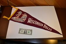 Vintage Wisconsin Dells Large PENNANT Stand Rock Jumper Good Colors Gold Maroon