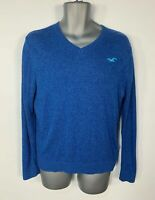 MENS HOLLISTER BLUE CASUAL JUMPER LONG SLEEVE V NECK PULLOVER SWEATER SIZE SMALL