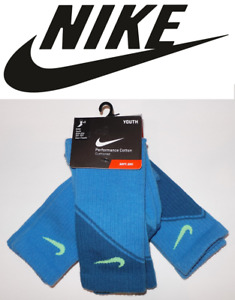 Nike 3-pk. Boys Performance Cotton Cushioned Crew Socks Sizes: 3Y-5Y, 5Y-7Y Blue