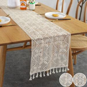 UK Lace Woven Tassels Tablecloth Beige Crochet Hollow Table Runner Wedding Decor