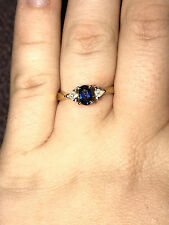 14kt White Gold Yellow Gold Sapphire & Trillion Cut Diamond Ring, Rare Valuable