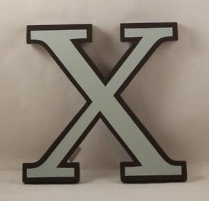 Restoration Hardware Decorative Wall Letter X Mint Green Brown Wood Large 9 Inch