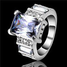 White Sapphire Wedding Band Ring white Rhodium Plated Jewelry Size 9