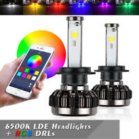 Pair H7 72W 8000LM LED Headlight Bulbs LED RGB Multi-Color Car Fog Lights lamp