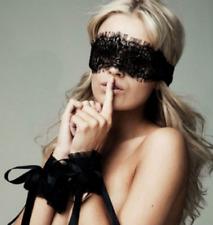 Le donne ESTASI Pizzo Nero Maschera occhi e manette ritenuta Set di sesso