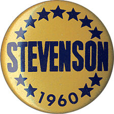 1960 Campaign Adlai STEVENSON Democratic Primary Button (3216)