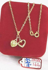 Authentic 18K Saudi Gold Necklace with Twin Hearts Pendant