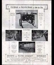 """BORDEAUX (33) MOTOPOMPE / PASTEURISATEUR """"Sté du FILTRE GASQUET"""" Tract"""