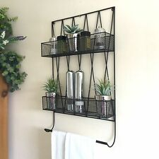 Vintage Style Kitchen Wall Shelf Unit Wire Storage Basket Rack Spice Towel Rail