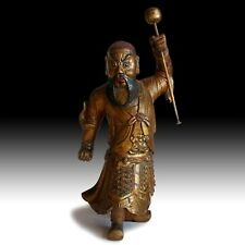 Antique Chinese Carved Lacquered Gilt Wood Temple Guardian Dharmapala Statue 金剛