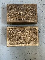 "Vintage  Small Wooden Box Jewelry Trinket Hand Carved Wood Inlay"" India"""