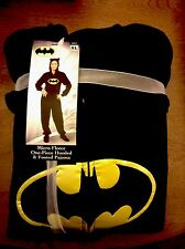 NEW DC COMICS BATGIRL BATMAN HOODED FOOTED PAJAMAS COSTUME 1 PC L or XL HTF