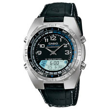 Casio Men's AMW-700B-1AV 'Forester Fishing timer' Digital Black Leather Watch