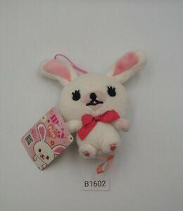 "Mofy Moffi B1602 White Rabbit SEGA Strap Mascot Plush 4"" Toy Doll Japan"