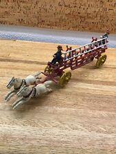 KENTON Antique Cast Iron Horse Drawn Hook & Ladder Fire Truck W/ 2 Men G2