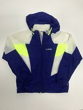 Vtg 80s/90s NIKE Gray Tag Windbreaker Jacket Purple Neon Green Sz XL WMNs