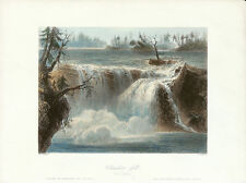 WH BARTLETT Antq c1841-42 Engrav from CANADIAN SCENERY ILLUS., CHAUDIERE FALLS