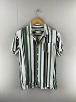 Zx Zanerobe Mens White Green Blue Striped  Short Sleeve Button Up Shirt Size XS
