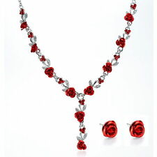 HOT  RED  FLOWER RHINESTONE BRIDAL /PROM  NECKLACE AND EARRING SET E 12