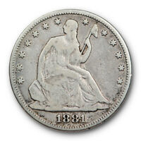 1881 Seated Liberty Half Dollar Very Good VG Key Date Low Mintage