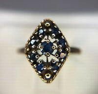 Estate Vintage 10k Yellow Gold Round Blue Sapphire Cocktail Ring 1/2 ct