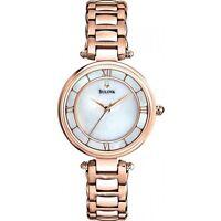 Bulova Women's Quartz Rose Gold Tone Mother of Pearl Dial 29mm Watch 97L124