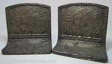 Antique Holland Dutch Scene Tin over Cast Iron Bookends windmill sailboats town