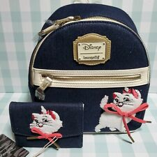 Loungefly Disney Aristocats Marie Denim Mini Backpack & Matching Wallet NWT