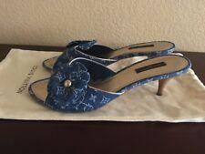 62d389a41250 Louis Vuitton Blue Denim Monogram Freesia Flower Slip On Low Heel Mule  Sandal