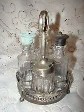 Antique Silver Plated & Crystal Cruet Set Condiment