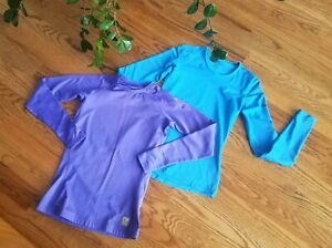 Nike Thermal Base Layer Athletic Running Shirts Womens Size S Blue/Purple (Lot 2