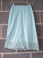 Vintage Warners Compli Fit Pale Blue Teal Lace Petticoat Half Slip Skirt Nylon S