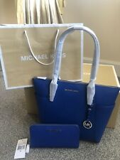 BNWT Genuine Michael Kors Medium Jet Set Leather Tote & Purse in Electric Blue