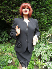 Bill Blass costume soirée costume Taille 38 noir broderies élégante et Gracieux