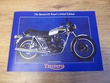 NEW TRIUMPH SALES BROCHURE POSTER T140 BONNEVILLE ROYAL WEDDING 1981 - TRI-SB-81