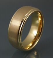 Tungsten Carbide Ring 8mm Brushed Gold Mens Womens Band With Polished gold Inner