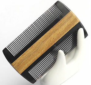 Natural Sandalwood Anti Static Ox Horn Hair Comb Beard Mustache Comb