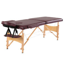"84"" 2 Sections Folding Portable Beech Leg Beauty Massage Table Adjustable Height"