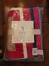 Pottery Barn Kids Pbk Junior Varsity Quilted Euro Pillow Sham Red Tan White Blue