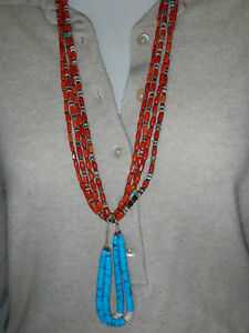 Beautiful old coral Native American necklace with jacla