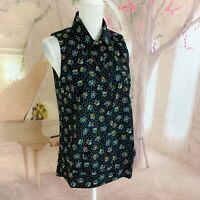 NEW CAbi Women's Whimsy Floral black Sleeveless Tank Top Blouse Small 3440