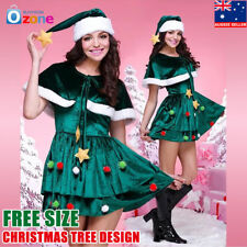 Deluxe Santas Helper Ladies Fancy Dress Costume Womens Christmas Free Size