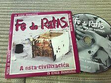 FE DE RATAS - A ESTA CIVILIZACION CD SINGLE PROMOCIONAL PUNK SANTO GRIAL 2001