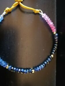 Crazy Deal!!Solid 18K Gold, Ruby and Sapphire Bracelet!!! Lifetime guaranteed!!!