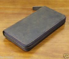 Vintage Men's Genuine Leather long wallet Clutch Bag Money Clips with zipper 01
