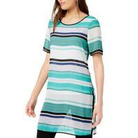 ALFANI NEW Women's Striped Split Side Tunic Shirt Top TEDO