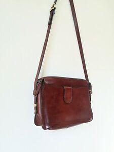 Vintage 70s chestnut brown thick Leather cross body satchel Bag medium